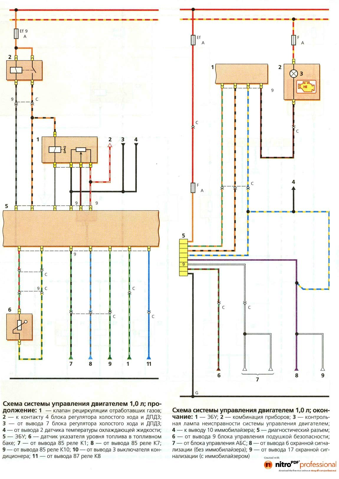 Схема электрооборудования део матиз
